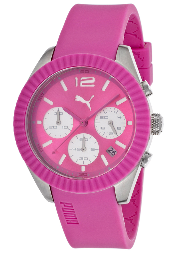 Women's Chronograph Pink Dial Coral Rubber - Puma Watch