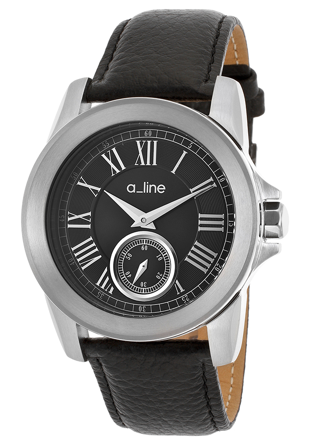 Women's Amare Black Genuine Leather Black Dial - a line Watch