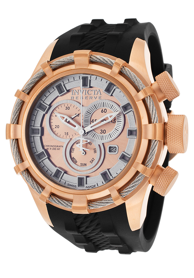 Men's Bolt Reserve Chrono Black Polyurethane Rose-Tone & White Dial - Invicta Watch