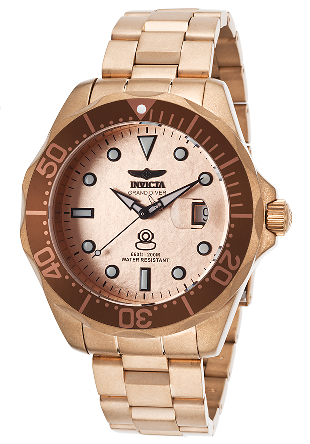Men's Pro Diver Sandblasted 18K Rose Gold Plated Steel and Dial - Invicta Watch