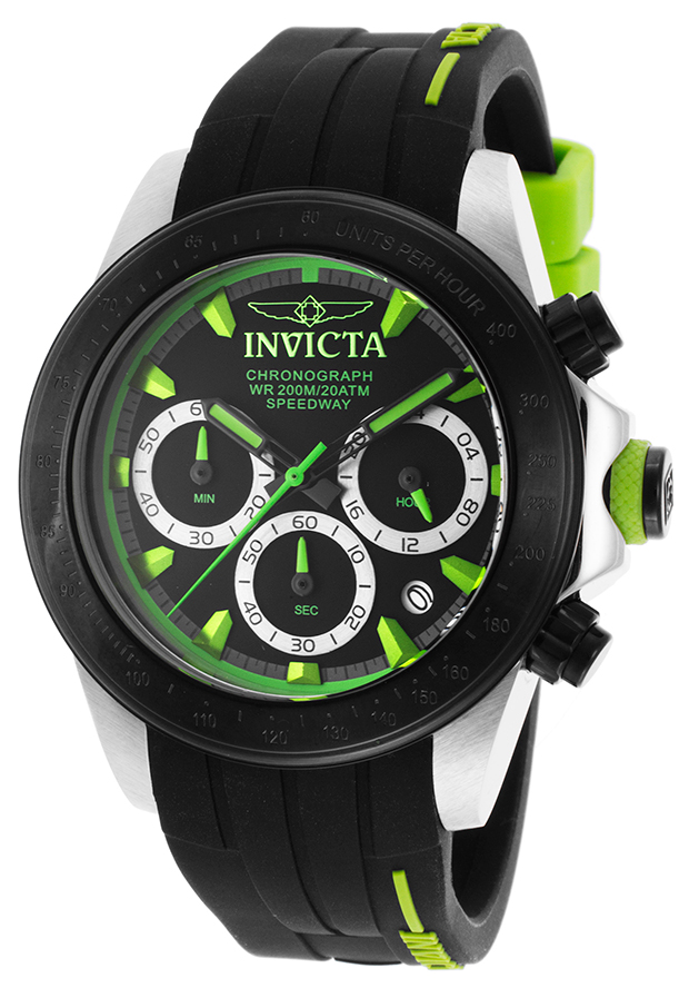 Men's Speedway Black Silicone Chronograph Black and Light Green Dial - Invicta Watch