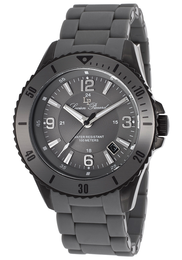 Mocassino Grey Silicone Black Dial Black IP Stainless Steel Case - Lucien Piccard Watch