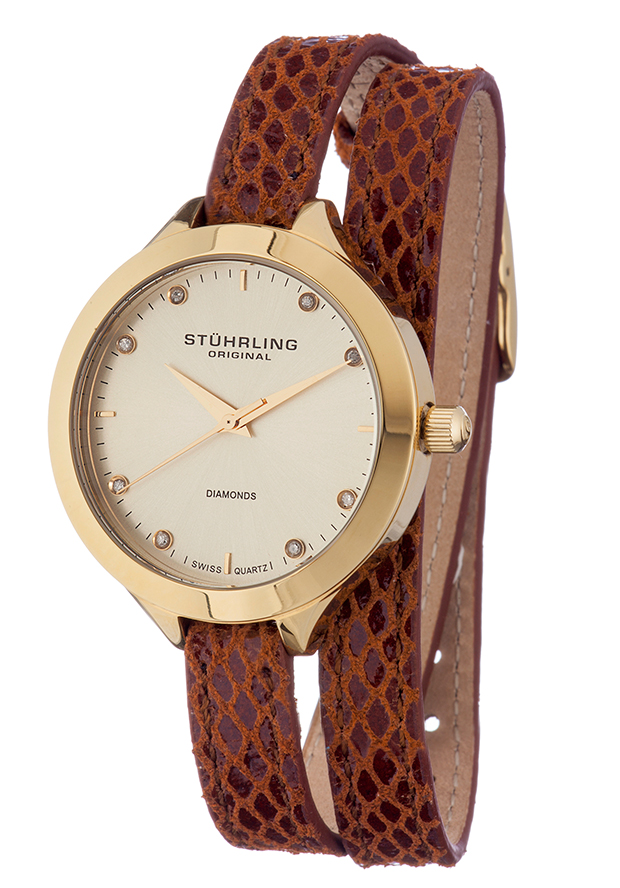 Women's Classic Brown Genuine Leather Gold-Tone Dial - Stuhrling Original Watch