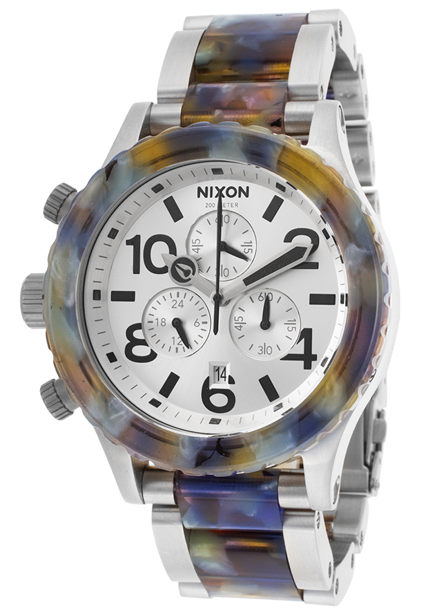 Men's 42-20 Chrono SS and Multi-Colored Acetate Silver-Tone Dial - Nixon Watch