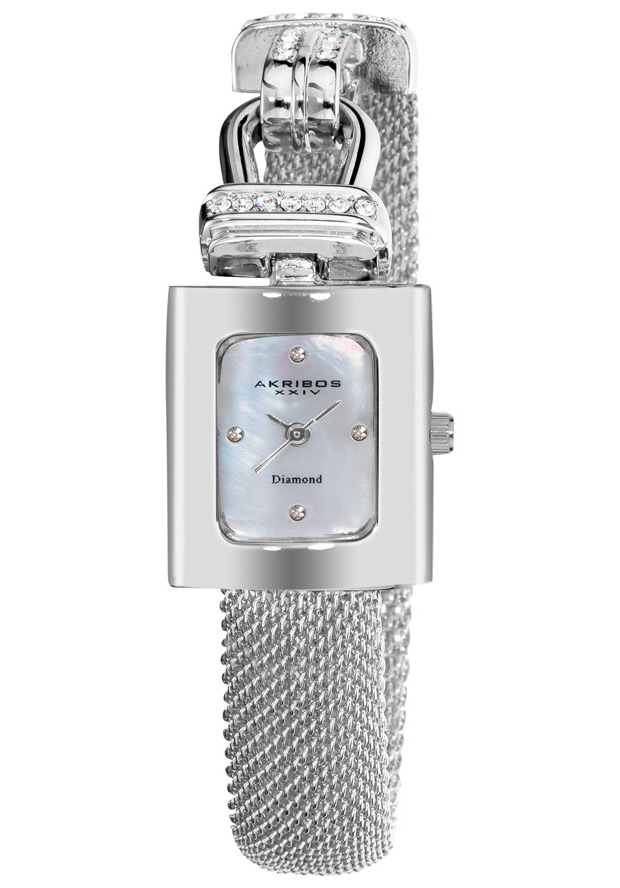 Women's Impeccable White Mother of Pearl Dial Silver-tone Base Metal - Akribos XXIV Watch