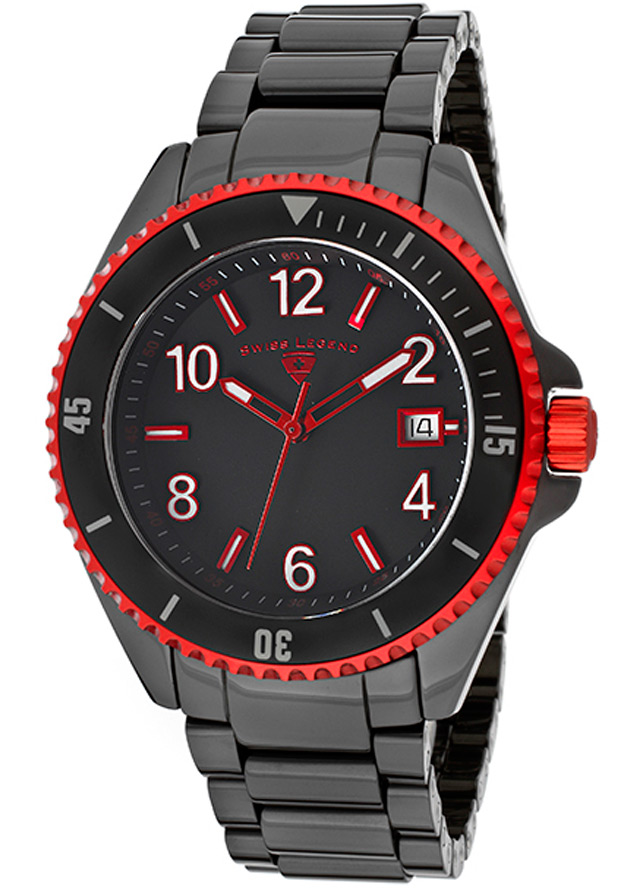 Luminar Black Ceramic and Dial Red Bezel - Swiss Legend Watch