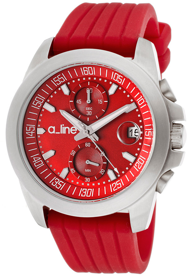 Women's Aroha Chronograph Red Dial Red Silicone - a_line Watch