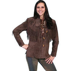 Scully - Boar Suede Fringe Jacket L9 Tall (Women's) - Chocolate