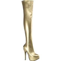 Bordello - Teeze 3000 (Women's) - Gold Stretch PU