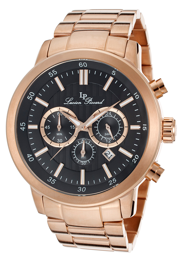 Men's Monte Viso Chrono Black Textured Dial Rose Gold Tone IP Stainless Steel - Lucien Piccard Watch