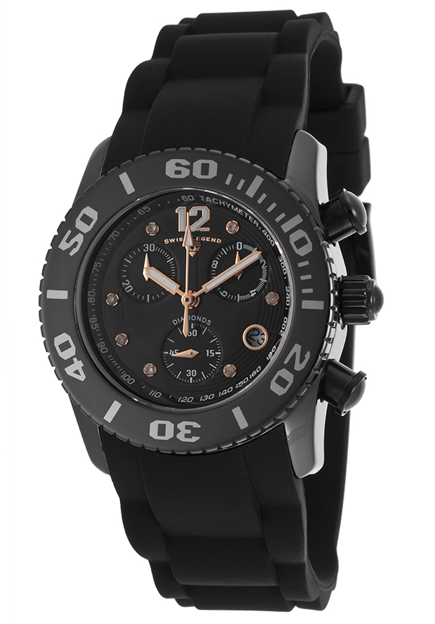 Commander Diamonds Chronograph Black Silicone and Dial Rose-Tone 37mm - Swiss Legend Watch