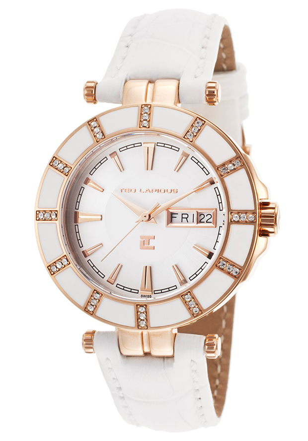 Women's White Genuine Leather Silver-Tone Dial - Ted Lapidus Watch