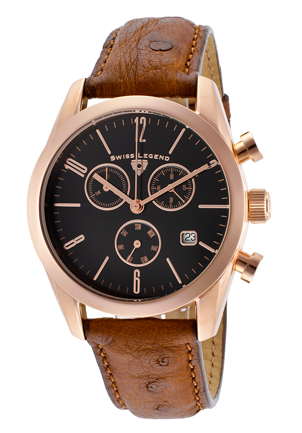Peninsula Chronograph Light Brown Genuine Ostrich Leather Black Dial - Swiss Legend Watch