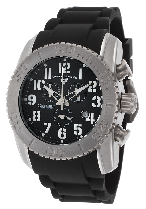 Commander Chronograph Black Silicone and Dial Titanium Case - Swiss Legend Watch