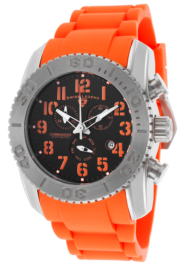 Commander Chrono Orange Silicone Black Dial Titanium Case - Swiss Legend Watch