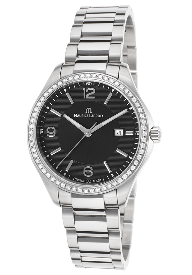 Maurice Lacroix Women's Miros Diamond Stainless Steel Black Dial SS - Luxury Watch