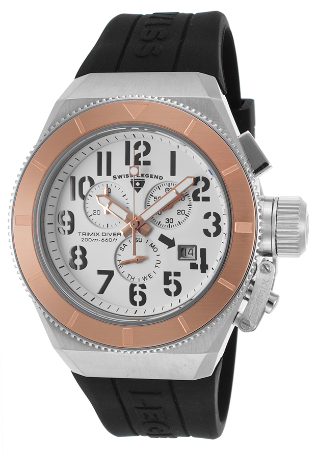 Swiss Legend Watches Trimix Diver 2.0 Chrono Black Silicone White Dial Rose-Tone Bezel