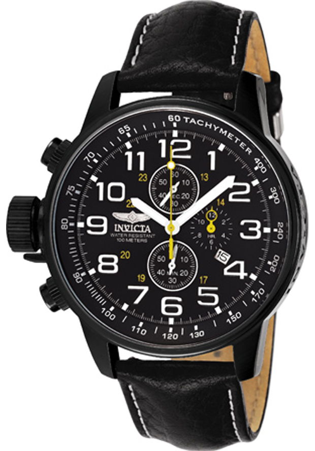 Men's I-Force Chronograph Black Genuine Leather & Dial - Invicta Watch