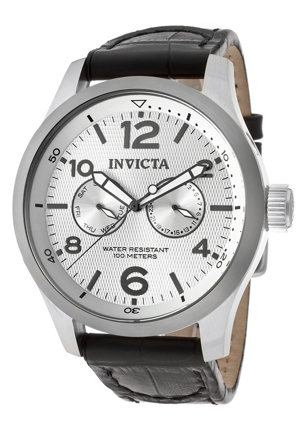 Men's I-Force Silver Dial Black Genuine Leather - Invicta Watch