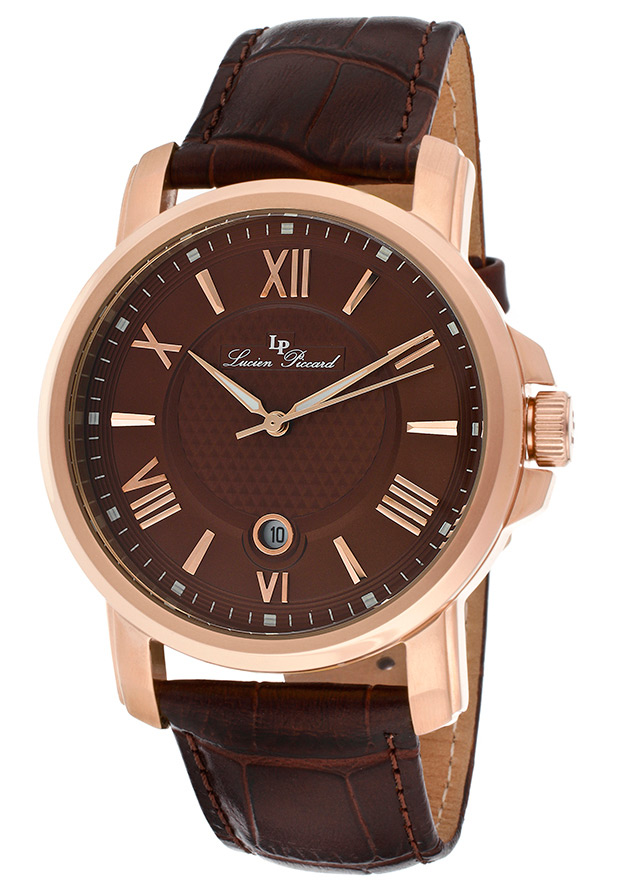 Cilindro Brown Genuine Leather and Dial Rose-Tone Case - Lucien Piccard Watch