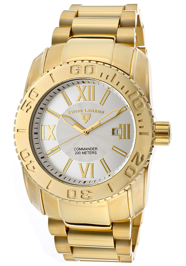 Men's Commander Silver Textured Dial Gold Tone Ion Plated Stainless Steel - Swiss Legend Watch