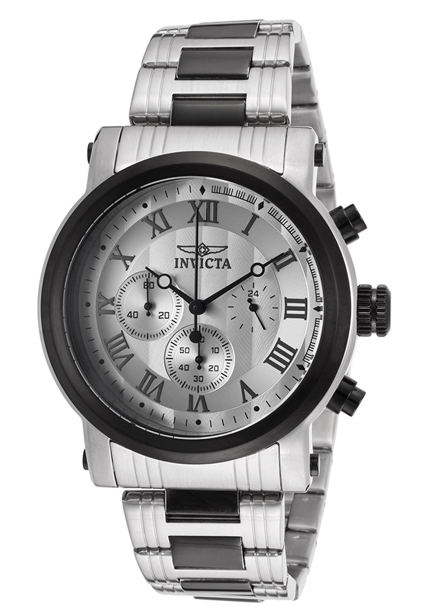 Men's Specialty Chronograph Silver Tone Dial Black and Stainless Steel - Invicta Watch