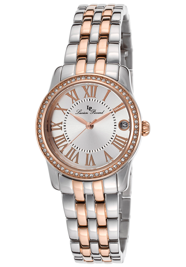 Landes Crystals Two-Tone Steel Bracelet Silver-Tone Dial Rose-Tone Accents - Lucien Piccard Watch