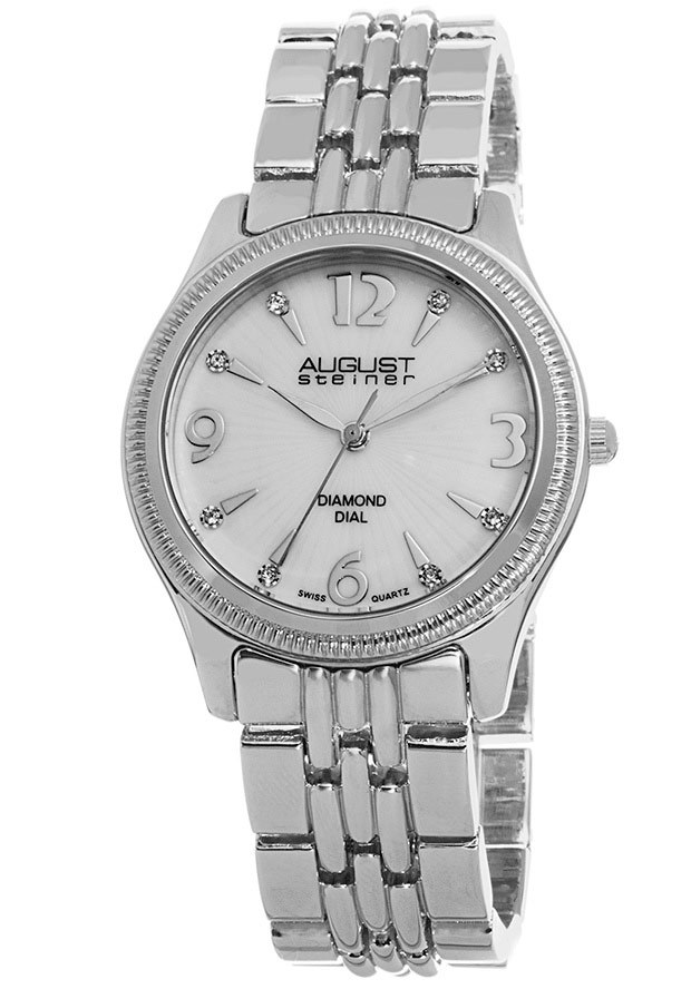 Women's Silver-Tone Base Metal Mother of Pearl Dial - August Steiner Watch