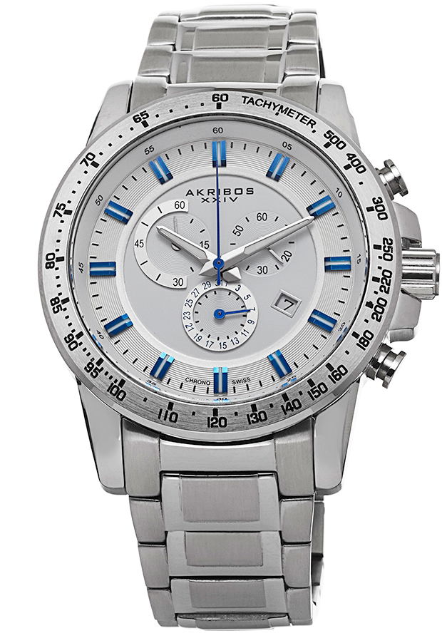 Men's Chronograph Silver-Tone Stainless Steel and Dial - Akribos XXIV Watch