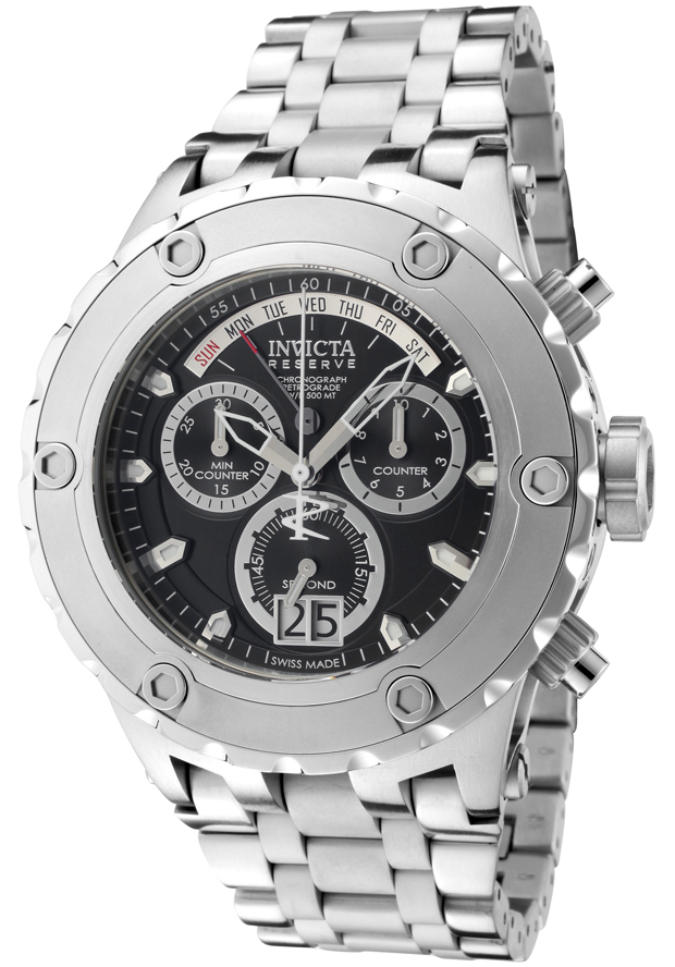 Men's Subaqua Reserve Chronograph Silver-Tone Stainless Steel Black Dial - Invicta Watch