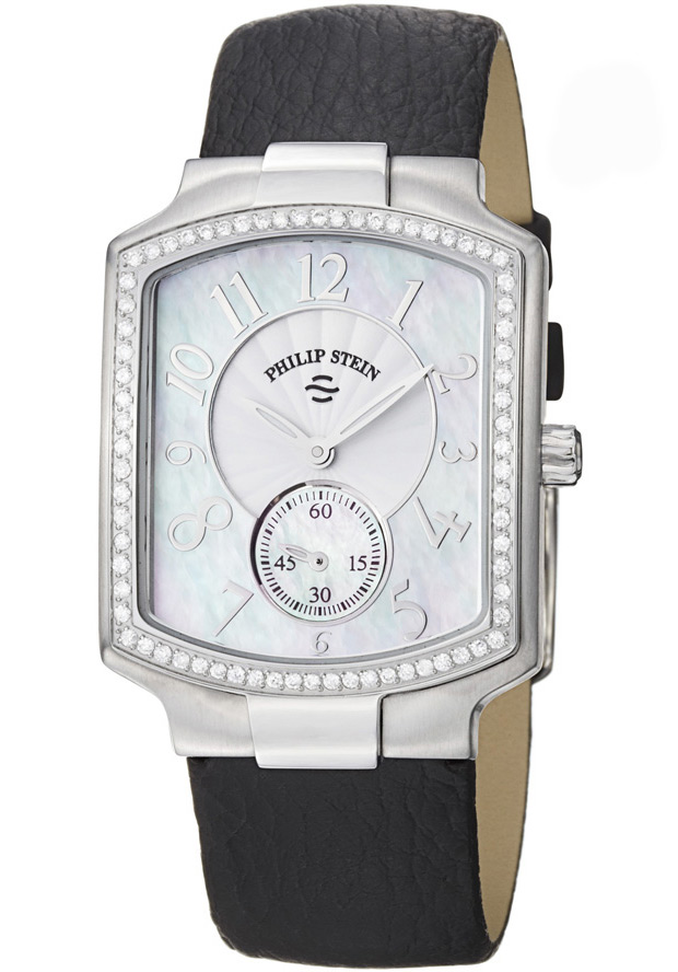 Women's Classic Diamond (0.45 ct) Mother of Pearl Dial Black Calfskin - Philip Stein Watch