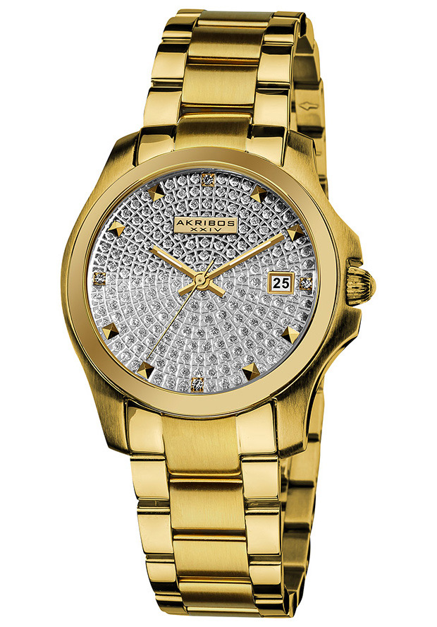 Women's Silver Tone Dial Gold Tone Stainless Steel - Akribos XXIV Watch