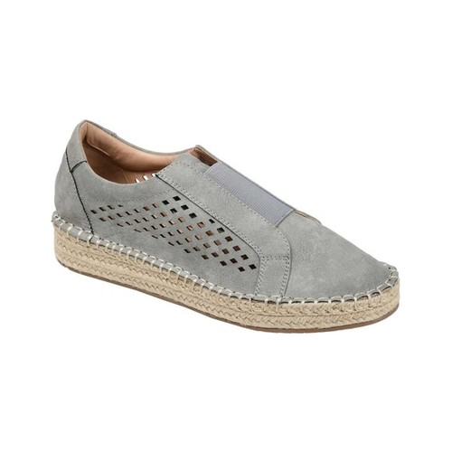 Women's Journee Collection Kandis Espadrille Sneaker, Size: 6.5 M, Grey Faux Leather