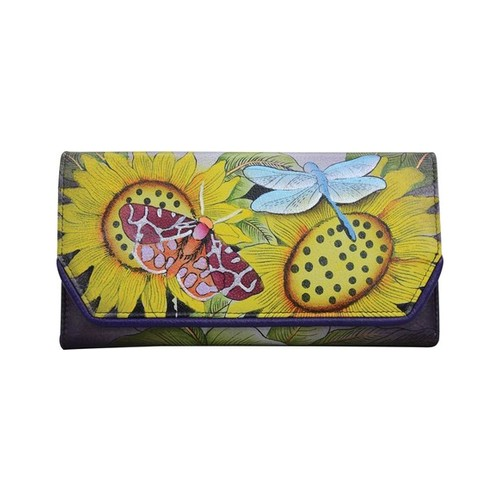 Women's Anna By Anuschka Hand Painted Leather Checkbook Clutch Wallet 1855, Size: Osfa, Tuscan Paradise