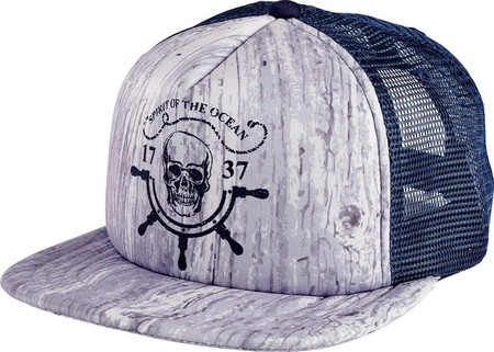 Children's San Diego Hat Company Wood Print with Skull Trucker Hat CTK4190