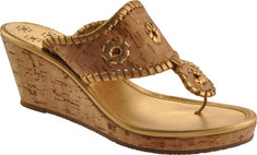 Women's Jack Rogers Marbella Mid Espadrille - Natural Cork/Gold Casual Shoes
