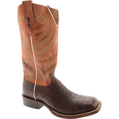 Twisted X Boots - MRAL001 (Men's) - Oiled Brandy Full Quill Ostrich/Orange Leather