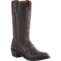 Lucchese Since 1883 - M2901. R4 Saddle Vamp Boot (Men's) - Black Cherry Goat Leather/Lizard Skin