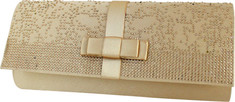 Jacki Design - Elegant Beaded Satin Evening Clutch (Women's) - Gold