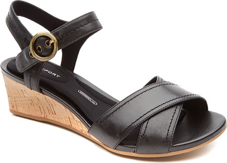 Women's Rockport Total Motion 55mm Stitched Quarter Strap Sandal - Black Calf Casual Shoes