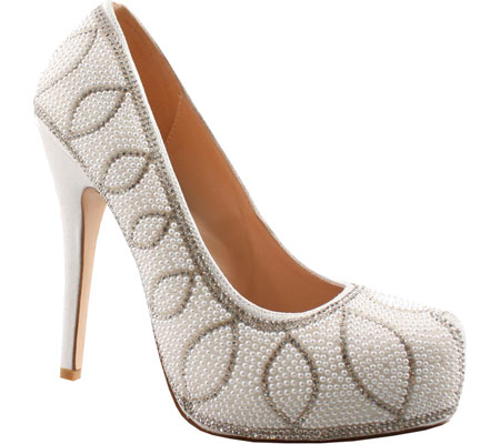 Women's Lauren Lorraine Danielle - White Pearl Ornamented Shoes