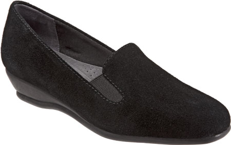 Women's Trotters Lamar Loafer - Black Cow Suede Casual Shoes