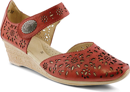 Women's Spring Step Nougat Closed Toe Sandal - Red Leather Sandals