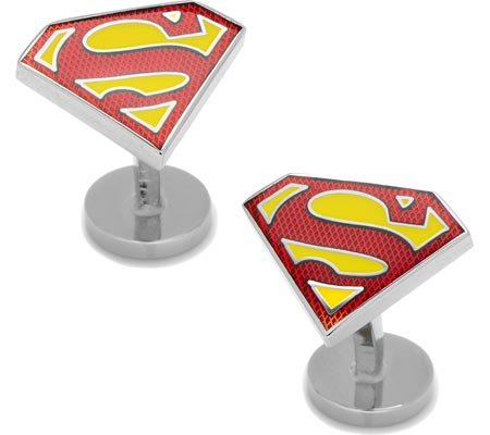 Men's Cufflinks Inc TextuTransparent Enamel Superman Shield Cufflinks