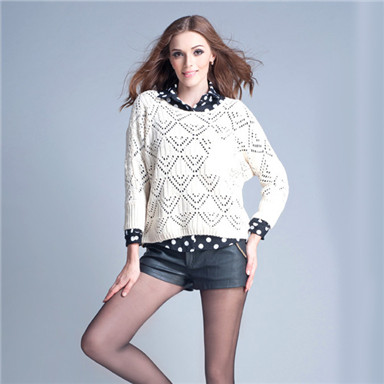 JollyChic Fashion Batwing Sleeve Hollow Pullover Knit Sweater For Women