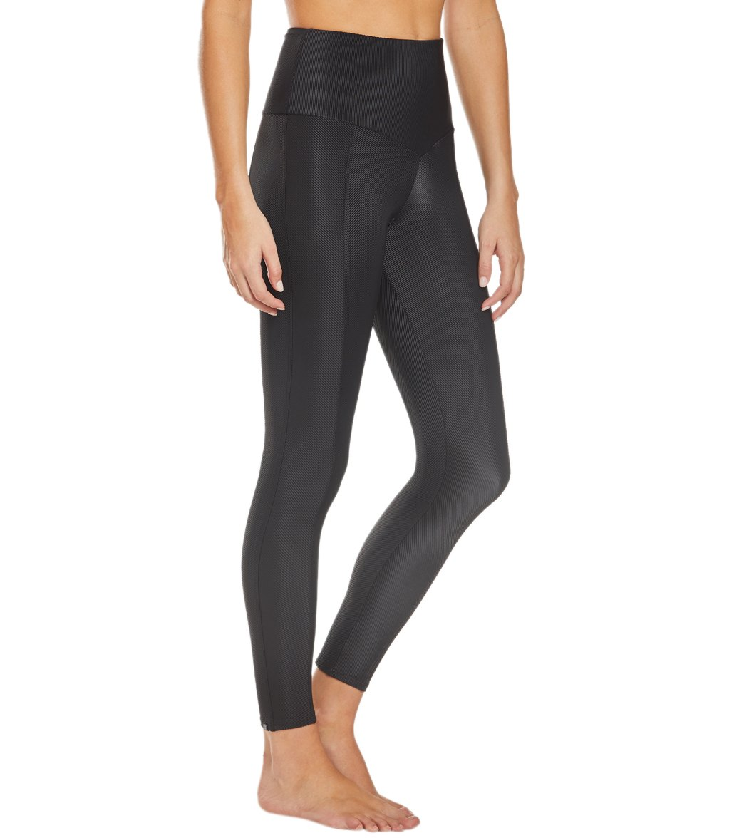 Onzie Women's Ribbed Sweetheart 7/8 Yoga Leggings - Black X-Small/Small Spandex